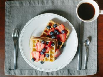 Sourdough waffles with berries and local coffee