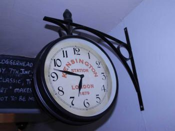 station clock in the bar