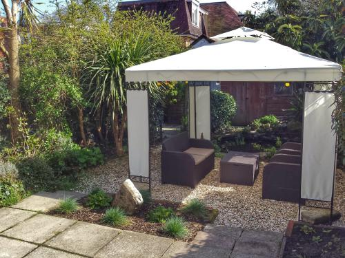 Garden seating area - gazebo and 2 waterfall ponds.