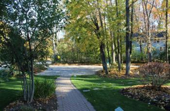Front walk and view to one of the parking areas