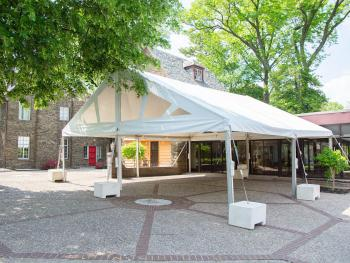 Tent setup in Courtyard for Event