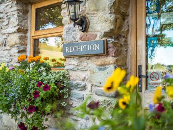 The welcoming entrance in summer