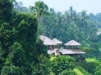 View of villa from up the river valley