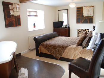 Africa - double room with walk in shower & freestanding bath overlooking the Somerset Countryside