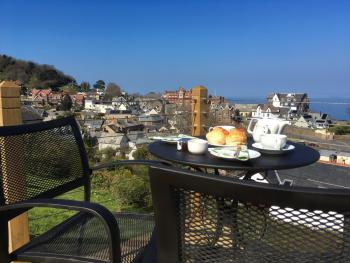 Cream Tea on the Terrace with views over Lynton.