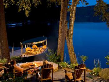 "The firepit in the evening is ""classic Adirondack"". Enjoy s'mores and perhaps a glass or 2 of wine!"