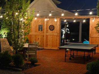 The North Patio Complete with Table Tennis, Darts, Giant Jenga, and Outdoor Seating