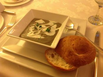 Warming mushroom soup and knot roll