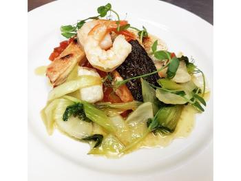 Pan roast Halibut, King Prawns and Pak Choi