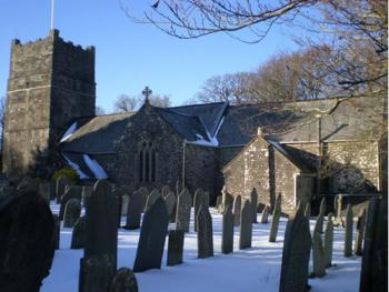 All saints Church in snow