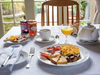 Breakfast overlooking the rear garden