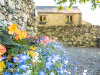 Traditional dry stone walls surrounding the building