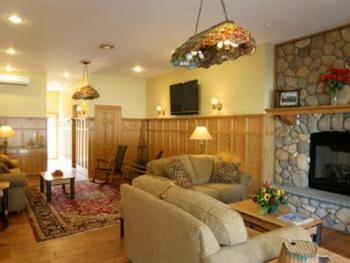 """The """"Great Room"""" is a living room/lounge area for guest use w/fireplace, games, large screen tv w/dvd, ice maker, microwave and refrigerator. We serve a  Continental Breakfast here in the morning."""