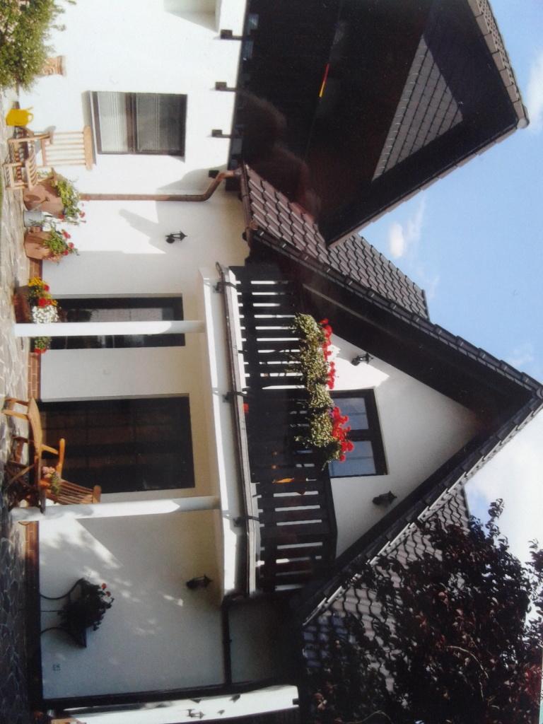 Gartenansicht mit Terrasse und Balkon