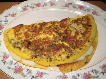 Breakfast at the B&B, cheese omelette