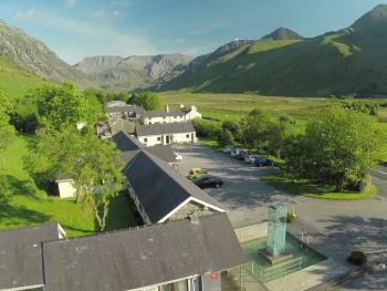 Snowdonia Mountain Lodge - View of the breakfast room and the valley beyond