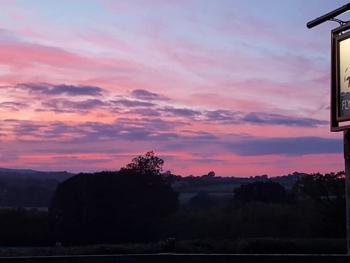 Stunning sunset over The Blackdown Hills at The Flying Fish