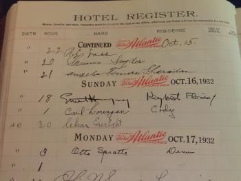 Ernest Hemingway's signature in the Hotel Register