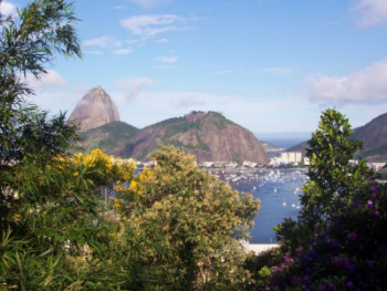 View to Sugar Loaf and the Bay of Guanabara from the road behind O Veleiro Bed and Breakfast