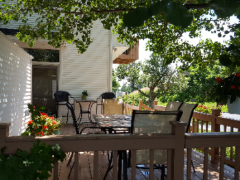 Our back deck is a great place to spend some time, admire the grounds and enjoy a glass of wine or some great conversation.