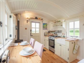 Interior of Leveret, our luxury shepherd's hut