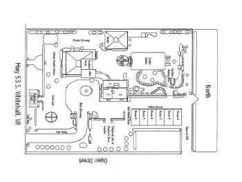 Diagram of Oak Park Inn showing the three distinct buildings and locations of guest rooms.  Note due to size, North is not in correct position.