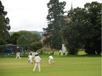 The cricket club and the Church of St Andrew