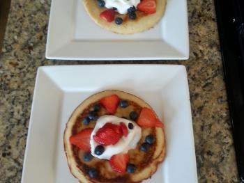 Breakfast menu changes daily. Fruit with pancake pictured.