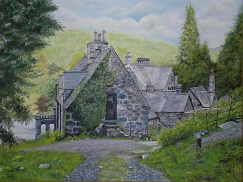 Oil Painting Started in 2010 and finished in 2012 by a Guest staying at the hotel The view when returning from the falls