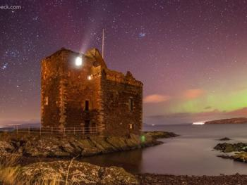 Portencross Castle, and the Northern Lights