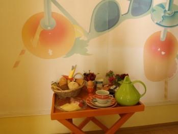 Frühstückstablett - Gäste Frühstücken auf dem Zimmer -