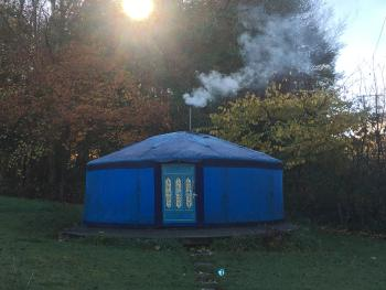 Wild Blue Yonder Yurt in the frost