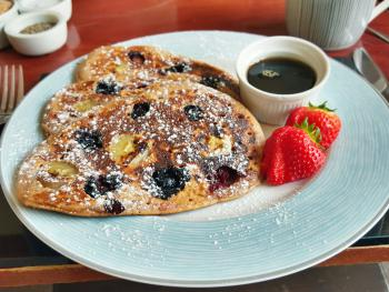 """The American"" - Home-made Plain, Blueberry, Babana or Blueberry & Banana Pancakes with Maple Syrup"