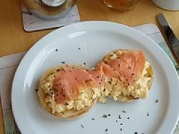 Smoked Salmon On Scrambled Egg and English Muffin