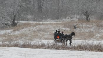 Our Amish neighbors delivering fresh eggs for breakfast!