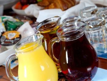 Refreshing orange, apple and cranberry juices.