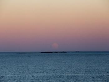 Moon Rise off the Horizon Seen At The Inn