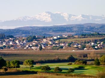 view from our terrace on the Pyrenees and golf course hole nr. 11
