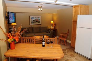 Our 1-bedroom kitchen suites have an open living room-dining room and kitchen with a large master bedroom
