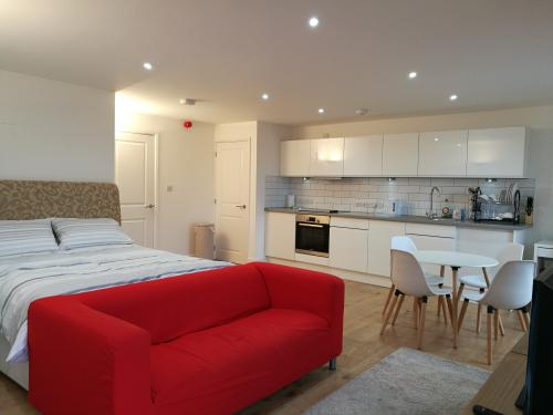 Spacious studio, with living room sofa, dining table and kitchen.