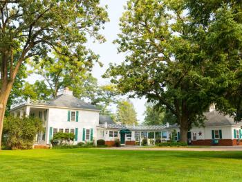 The Oak Park Inn located in rural Whitehall, WI.  Our three acres of gardens and trees make for a charming atmosphere.
