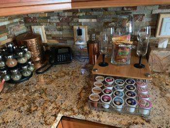 Kcup coffee (and there is also a regular maker with grinder) and spices and popcorn pack for your use