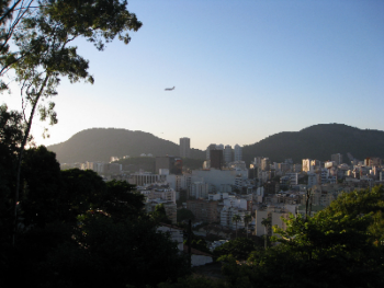 View from our second floor balcony onto the valley and Botafogo neighbourhood below us.
