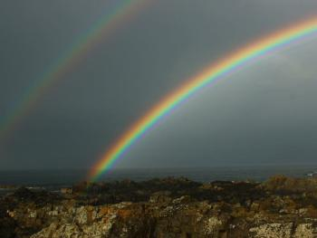 Rainbows on Pitullie Shore