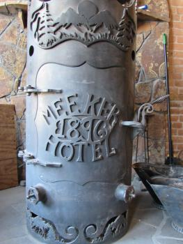 A wood burning chimney made special for the hotel warms the lobby up on cold days.