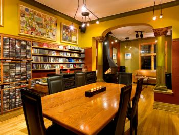 Dining room of the B&B with CD collection