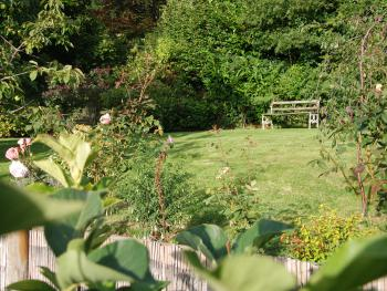 Lovely, relaxing garden with beautiful views over the Teifi Valley.