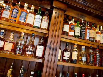 A part of our extensive whisky collection