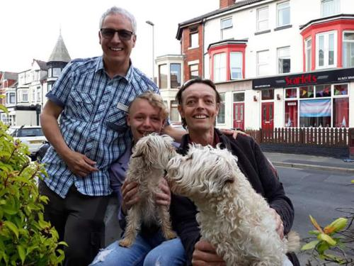 Nick,John & Kane (our son) with Hugo n Lottie outside Westfield House.
