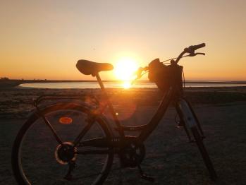 A vélo - Le couché de Soleil